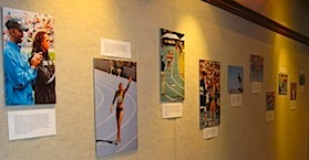 Picture of a Drake Relays exhibit in the Collier Room.