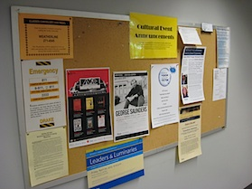 Picture of one of the library bulletin boards