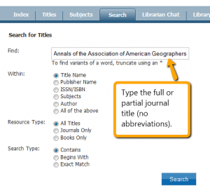 Search for a title in Find Journals - click to view full-size image.