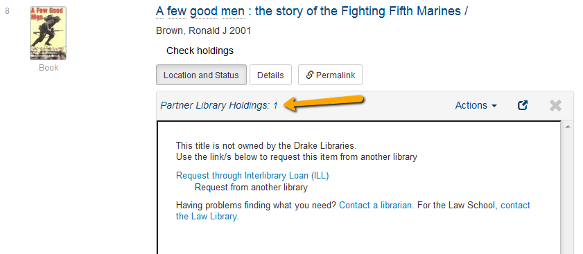 The Partner Library Holdings link allows you to request an item directly from a partner library
