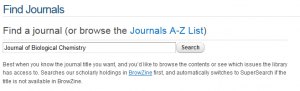 Search for a journal title on our Find Journals page - click to view larger image.